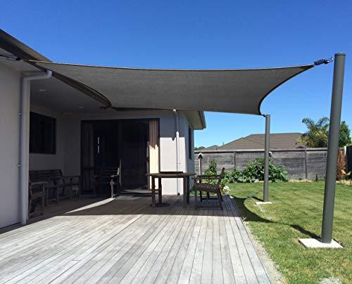 axt shade sonnensegel rechteck 4x6matmungsaktiv sonnenschutz hdpe mit uv schutz fuer terrasse balkon und garten graphit - Sonnensegel - bringt den Süden in den Garten