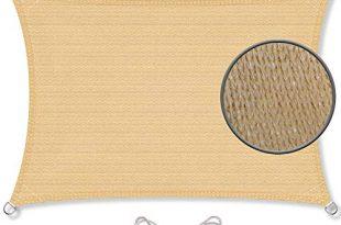 CelinaSun Sonnensegel inkl Befestigungsseile HDPE wetterbeständig atmungsaktiv Rechteck 2 x 3 m Sand beige