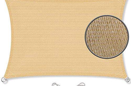 CelinaSun Sonnensegel inkl Befestigungsseile HDPE wetterbestaendig atmungsaktiv Rechteck 2 x 500x330 - CelinaSun Sonnensegel inkl Befestigungsseile HDPE wetterbeständig atmungsaktiv Rechteck 2 x 3 m Sand beige