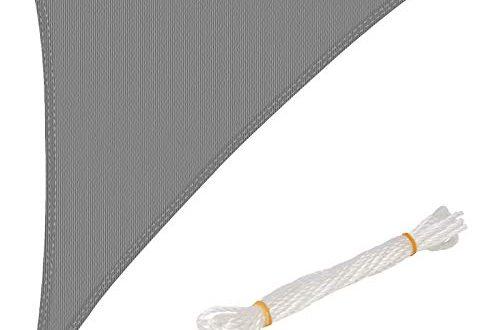 WOLTU Sonnensegel Dreieck 42x42x6m Grau atmungsaktiv Sonnenschutz HDPE Windschutz mit 500x330 - WOLTU Sonnensegel Dreieck 4,2x4,2x6m Grau atmungsaktiv Sonnenschutz HDPE Windschutz mit UV Schutz für Garten Terrasse Camping